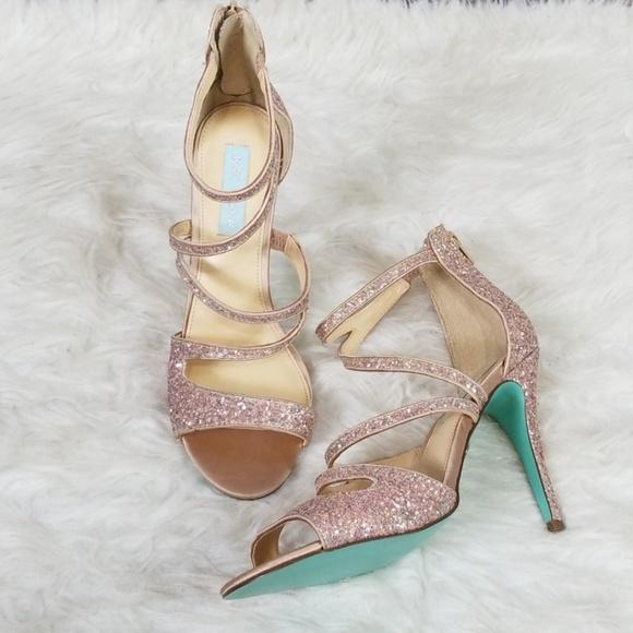4e4777adbcae Betsey Johnson Shoes - Blue by Betsey Johnson Izzy glitter strappy heels